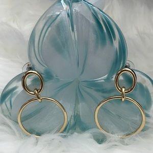 WHBM Gold Hoop Link Drop Earrings